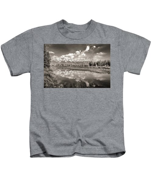 Snake River Reflection Grand Teton Monochromatic Kids T-Shirt