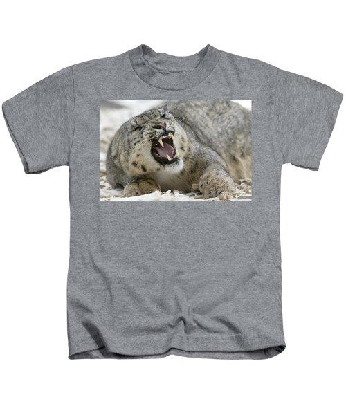 Snarling Snow Leopard Kids T-Shirt