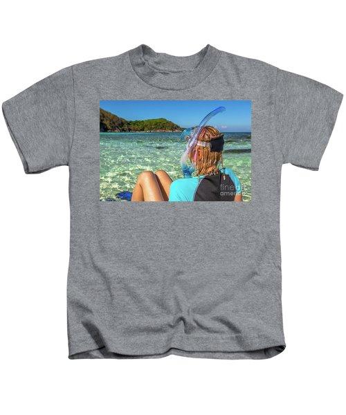 Snorkeler Relaxing On Tropical Beach Kids T-Shirt