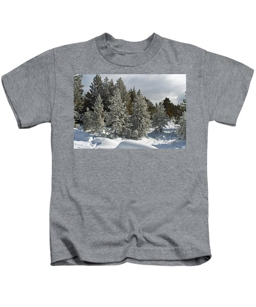 Snow And Ice Covered Evergreens At Sunset Lake  Kids T-Shirt