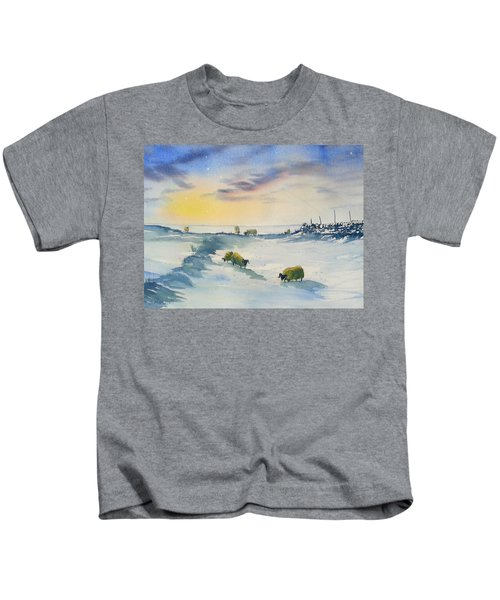 Snow And Sheep On The Moors Kids T-Shirt