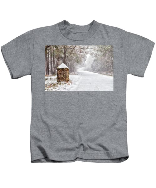 Snow Covered Brick Pillar Kids T-Shirt