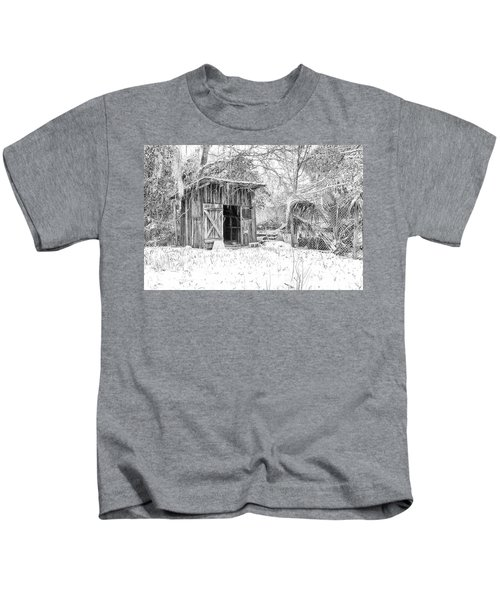 Snow Covered Chicken House Kids T-Shirt