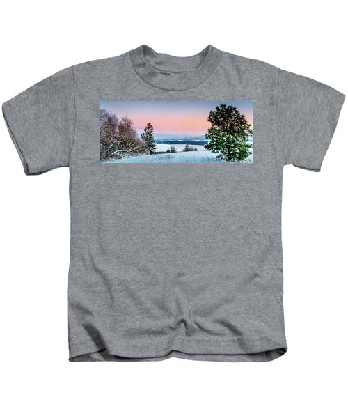 Snow Covered Valley Kids T-Shirt