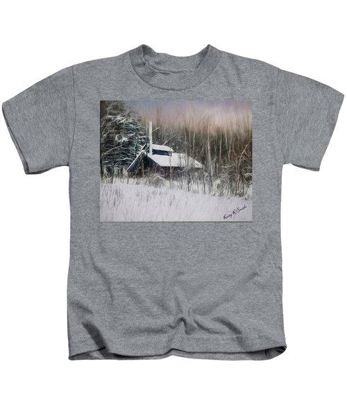 Snow Covered Vermont Sugar Shack.  Kids T-Shirt