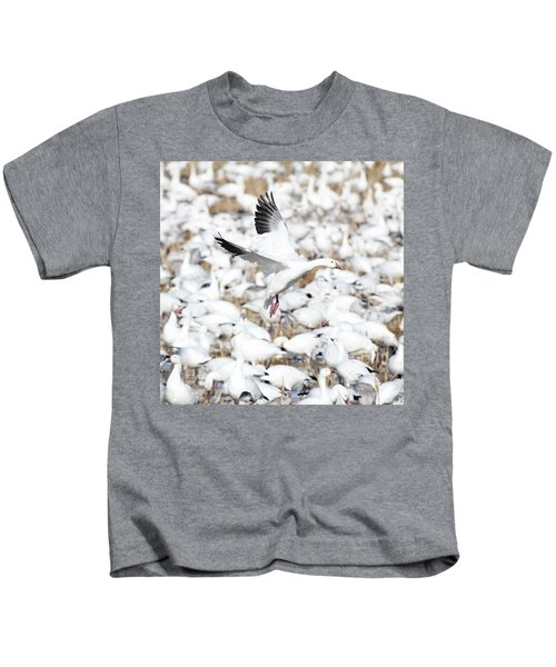 Snow Goose Lift-off Kids T-Shirt