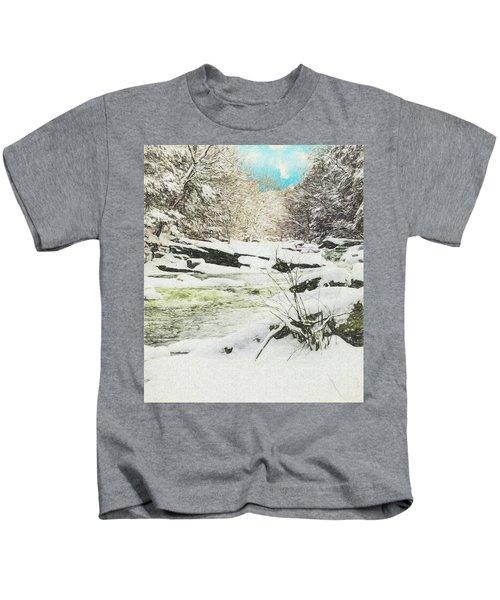 Snow On The Natchaug Kids T-Shirt