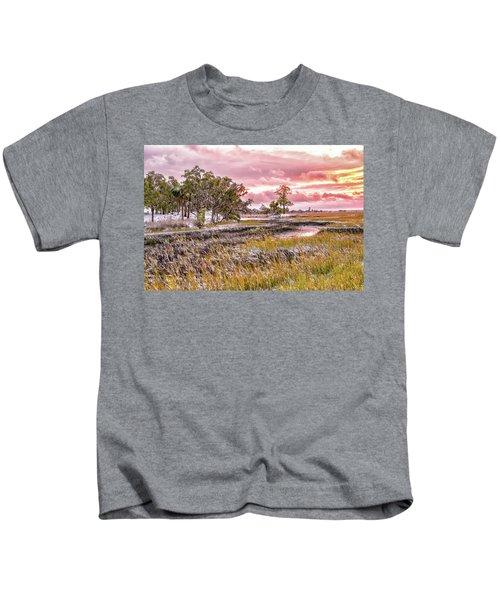 Snow Sunset -marsh View Kids T-Shirt