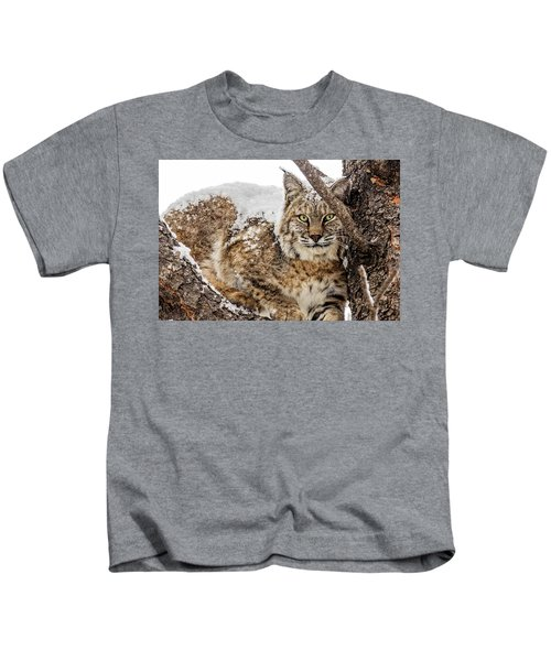 Snowy Bobcat Kids T-Shirt