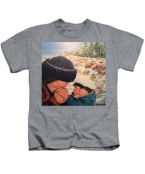 Snowy Day With My Dad Kids T-Shirt