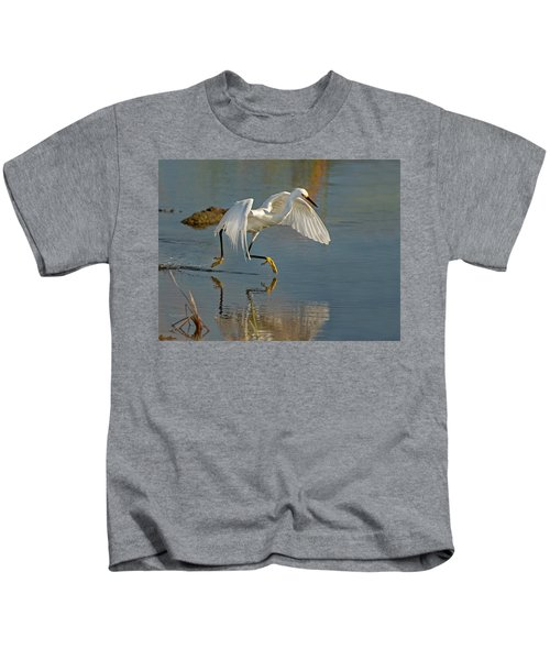 Snowy Egret On The Move Kids T-Shirt