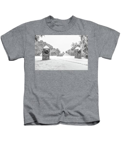 Snowy Gates Of Chisolm Island Kids T-Shirt