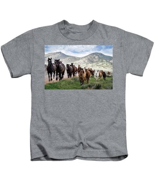 Sombrero Ranch Horse Drive, An Annual Event In Maybell, Colorado Kids T-Shirt