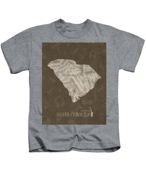South Carolina Map Music Notes 3 Kids T-Shirt