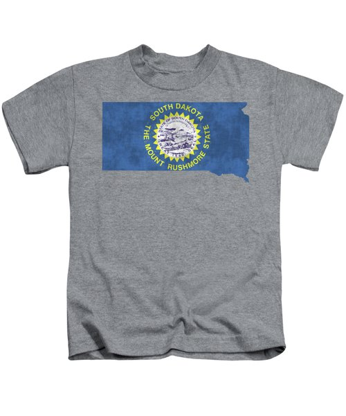 South Dakota Map Art With Flag Design Kids T-Shirt