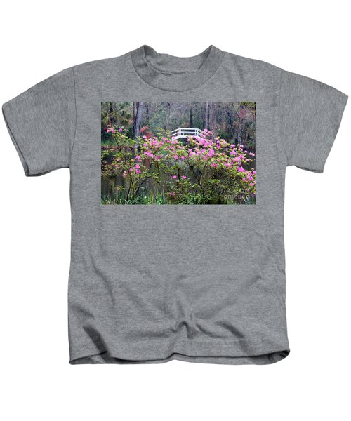 Southern Pond With Azaleas And Bridge Kids T-Shirt