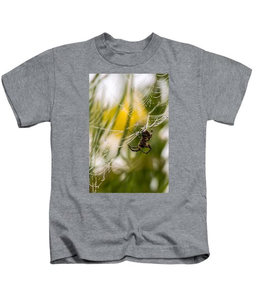 Spider And Spider Web With Dew Drops 04 Kids T-Shirt