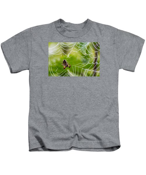 Spider And Spider Web With Dew Drops 05 Kids T-Shirt