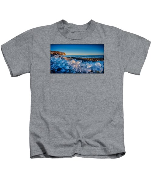 Split Rock Lighthouse With Ice Balls Kids T-Shirt