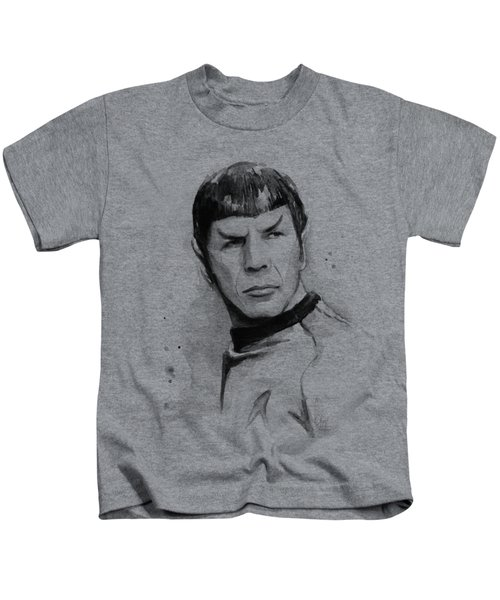 Spock Portrait Kids T-Shirt by Olga Shvartsur
