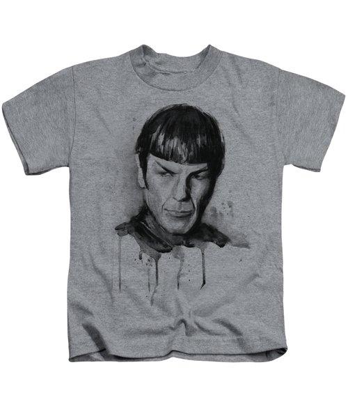 Spock Portrait Watercolor Star Trek Fan Art Kids T-Shirt by Olga Shvartsur