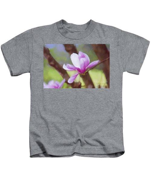 Spring Pink Saucer Magnolia Kids T-Shirt
