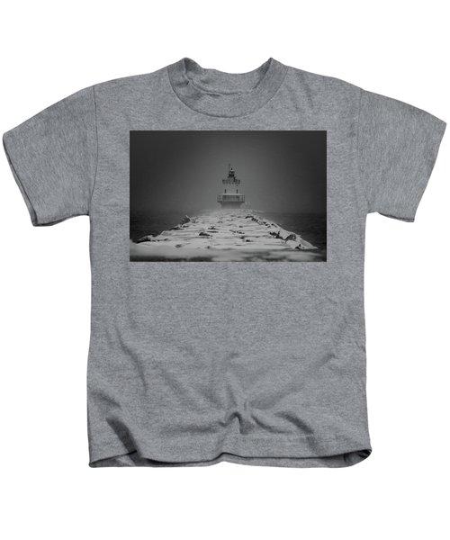 Spring Point Ledge Lighthouse Blizzard In Black N White Kids T-Shirt