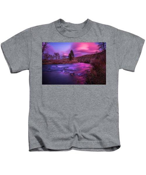 Spring Sunset Along The Truckee River Reno Nevada Kids T-Shirt