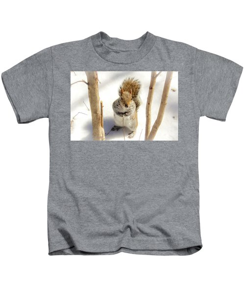Squirrel In Snow Kids T-Shirt