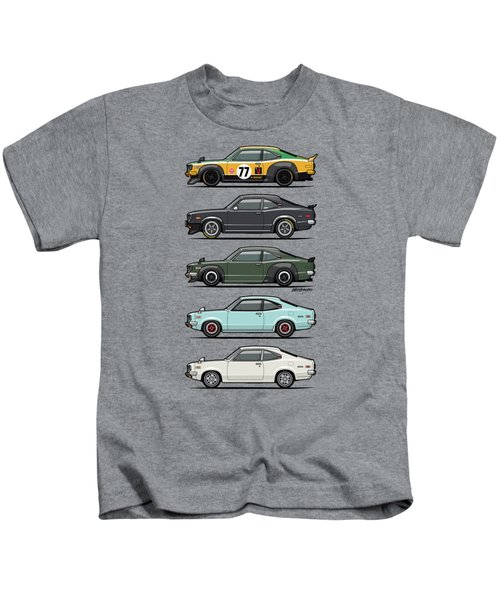 Stack Of Mazda Savanna Gt Rx-3 Coupes Kids T-Shirt by Monkey Crisis On Mars