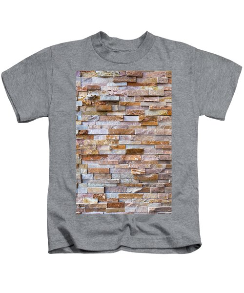 Stacked Stone Rock Wall Background Kids T-Shirt