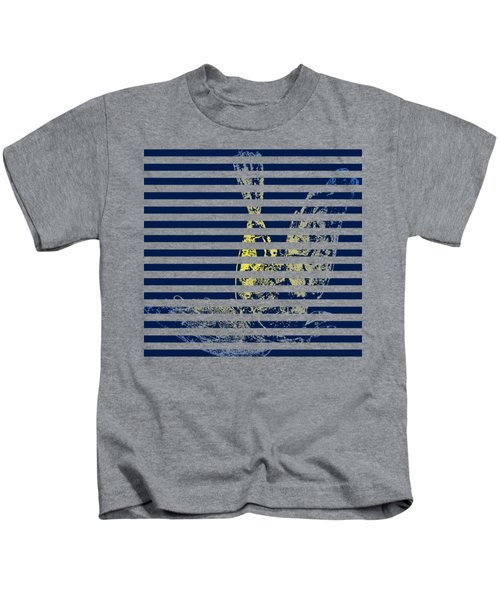 Stamped Bird With Blue Lines Kids T-Shirt