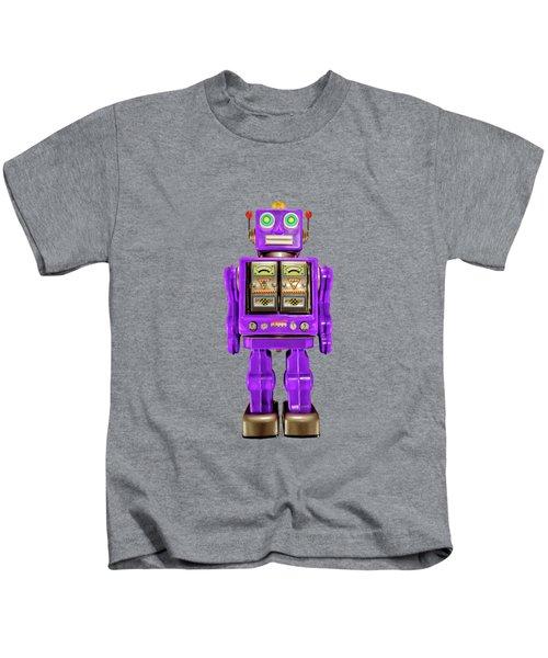 Star Strider Robot Purple On Black Kids T-Shirt
