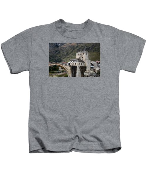 Stari Most Ottoman Bridge And Embankment Fortification Mostar Bosnia Herzegovina Kids T-Shirt