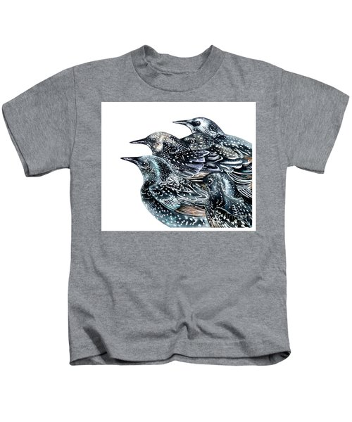 Starlings Kids T-Shirt by Marie Burke