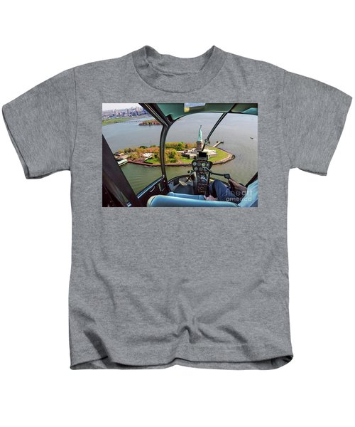 Statue Of Liberty Helicopter Kids T-Shirt
