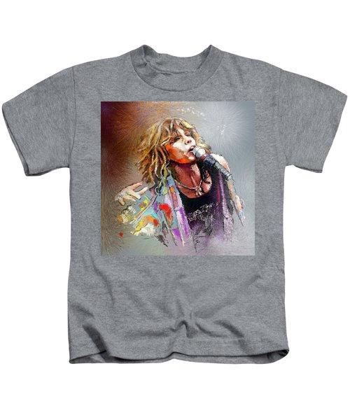 Steven Tyler 02  Aerosmith Kids T-Shirt by Miki De Goodaboom