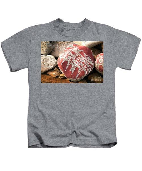 Stone With Tibetian Mantras Tibet Yantra.lv Kids T-Shirt