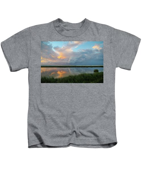Storm Cloud Reflections At Sunset Kids T-Shirt
