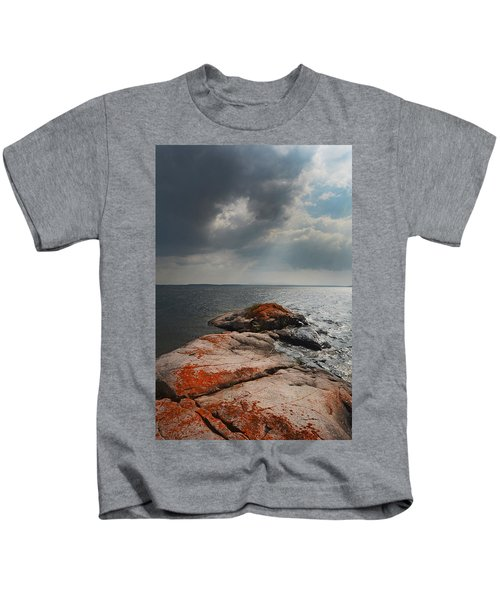Storm Clouds Over Wall Island Kids T-Shirt