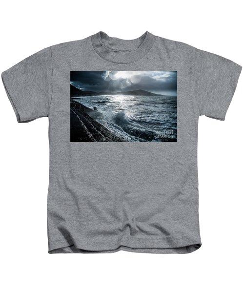 Stormy Seas At Tanybwlch Aberystwyth Kids T-Shirt