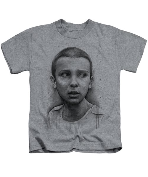 Stranger Things Eleven Upside Down Art Portrait Kids T-Shirt