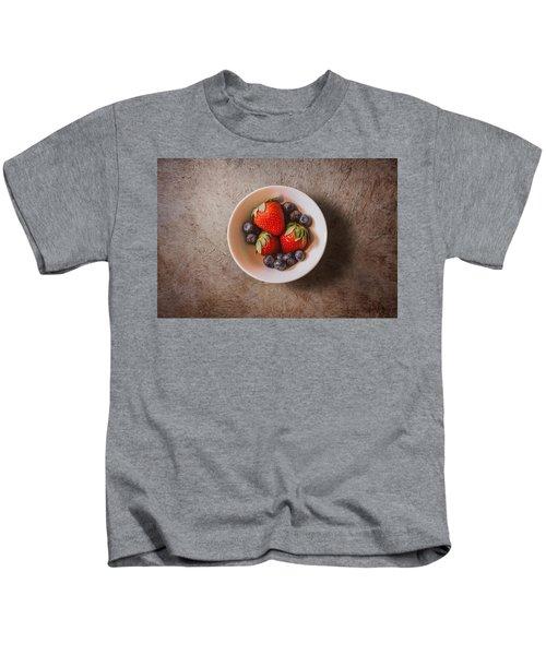 Strawberries And Blueberries Kids T-Shirt by Scott Norris