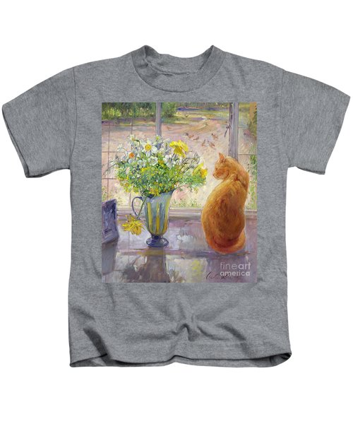 Striped Jug With Spring Flowers Kids T-Shirt