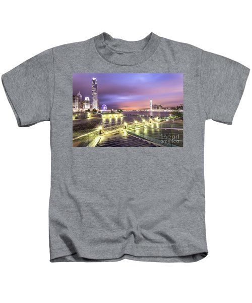 Stunning Night View Of The Famous Hong Kong Island Skyline And V Kids T-Shirt