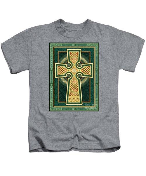 Stylized Celtic Cross In Green Kids T-Shirt