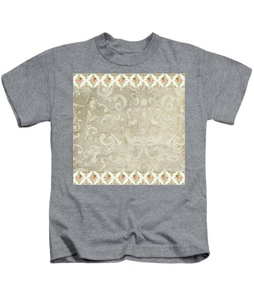 Summer At The Cottage - Vintage Style Damask Rose Border Kids T-Shirt