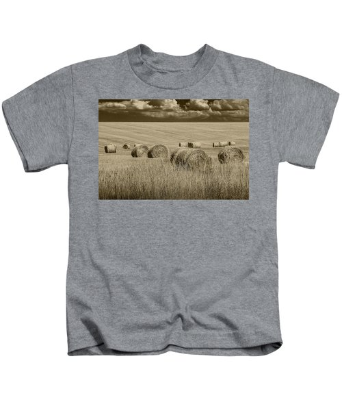 Summer Harvest Field With Hay Bales In Sepia Kids T-Shirt