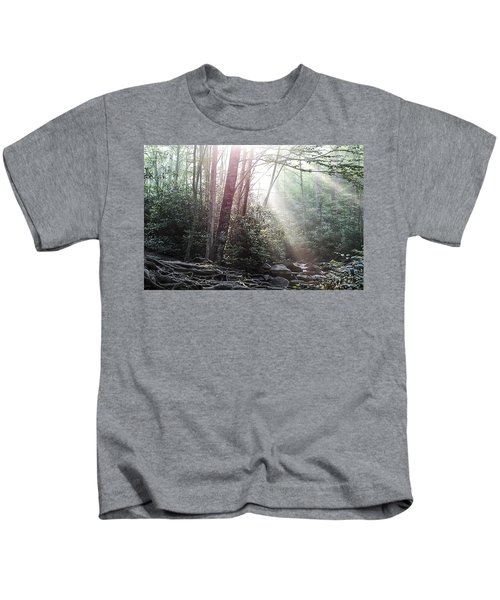 Sunbeam Streaming Into The Forest Kids T-Shirt