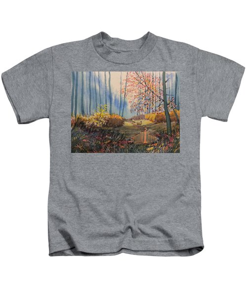 Sunlight And Sheep In Sledmere Woods Kids T-Shirt